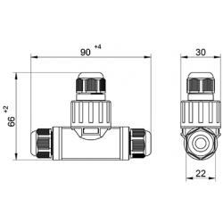 Jungtis WP3/DT atsišak. 2P+PE 0,5-2,5mm2 IP68 teko