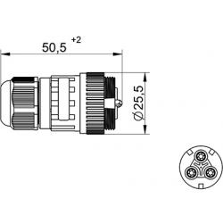 Jungtis WP3/H lizdas 2P+PE 0,5-2,5mm2 IP68  tekox