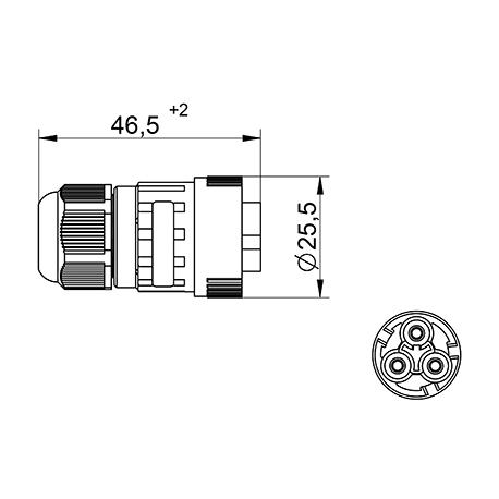 Jungtis WP3/M  kištuk. 2P+PE 0,5-2,5mm2 IP68 tekox