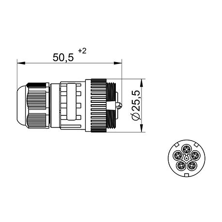 Jungtis WP5/H lizdas 4P+PE 0,5-2,5mm2 IP68  tekox