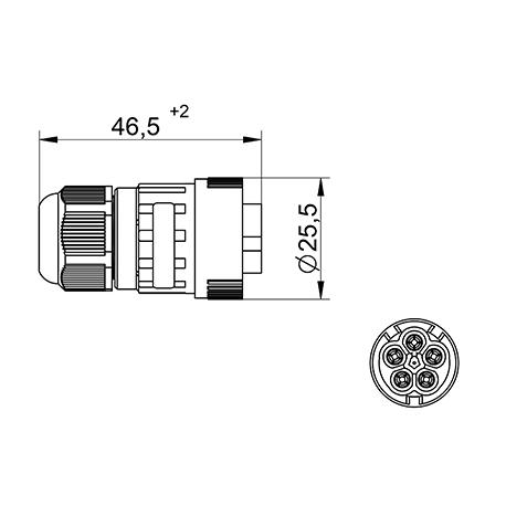 Jungtis WP5/M kištuk. 4P+PE 0,5-2,5mm2 IP68  tekox