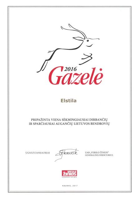 Gazelės 2016 Elstila apdovanojimas