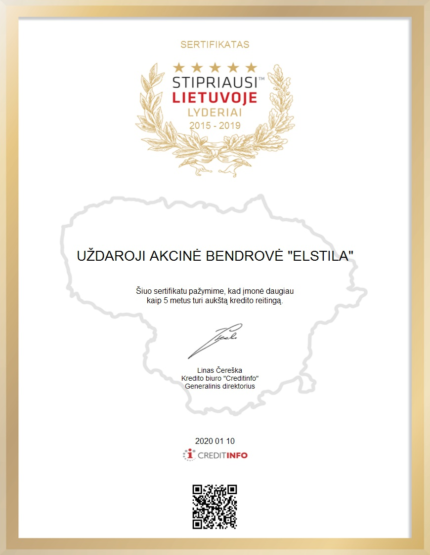 Stipriausi Lietuvoje Lyderiai 2015-2019 Elstila apdovanojimas